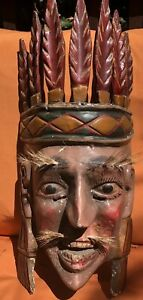 Old Native American Indian Carved Cotton Wood Mask Chief Kachina Folk Art