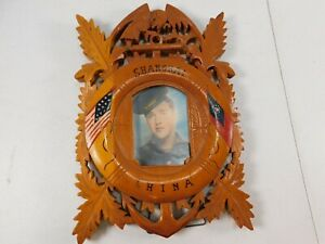 Vtg Carved Wood Usa Trench Art Style Picture Frame Flag Shanghai China Eagle 3x5