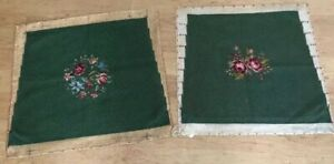 Matching Set Vintage Green Wool Needlepoint Chair Pillow Covers Floral Centers