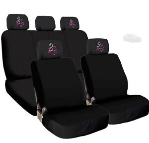 For Kia New Black Cloth Car Seat Covers And Red Pink Hearts Headrest Covers