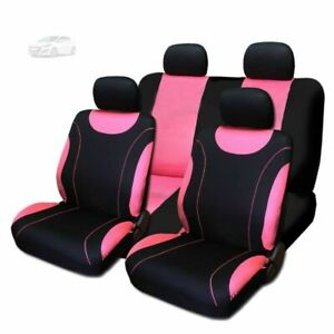 For Subaru New Flat Cloth Black And Pink Front And Rear Car Seat Covers Set