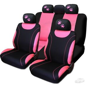 For Mercedes New Flat Cloth Black And Pink Car Seat Covers With Paws Set