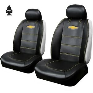 New Pair Chevy Synthetic Leather Sideless Car Truck Front Seat Covers With Gift