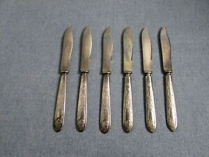Vintage Rogers Warranted 12 Dwt Fruit Knives Grape Leaves Grapes Lot Of 6