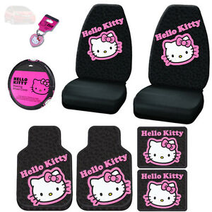 For Honda 8pc Hello Kitty Car Seat Steering Covers F R Mats And Key Chain Set
