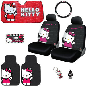 For Kia 8pc Hello Kitty Car Truck Seat Steering Covers Mats Accessories Set