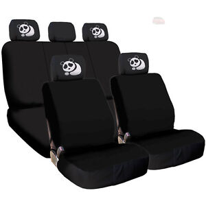 For Honda New Black Flat Cloth Car Truck Seat Covers And Panda Headrest Cover