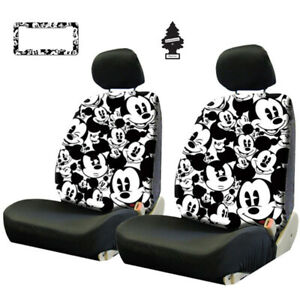 For Toyota New Mickey Mouse Sideless Car Seat Covers Lanyard Accessories Set