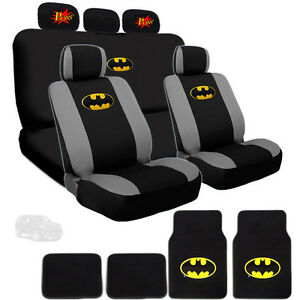 For Jeep Ultimate Batman Car Seat Covers Comic Pow Headrest And Mats Set