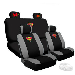 For Ford New Superman Car Seat Cover With Classic Pow Logo Headrest Cover
