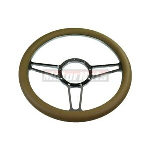 14 Beige Leather Vintage Chevy Gm Chrome Billet Aluminum 9 Hole Steering Wheel