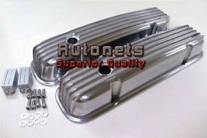 Pontiac V8 326 350 455 Polished Aluminum Nostalgic Finned Valve Cover With Hole