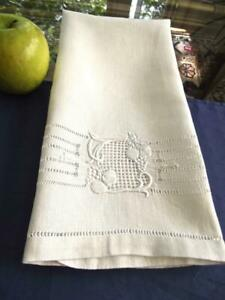 Antique Homespun Linen Show Towel Fab Art And Crafts Hand Embroidery Lace 18x26