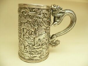 Fab Rare Chinese Solid Silver Large Dragon Handle Tankard Mug Lee Ching C1890