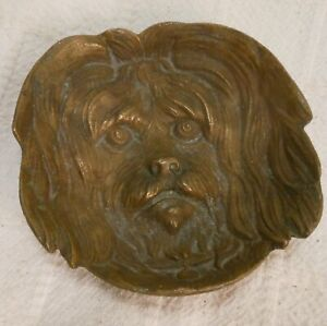 Great Antique Bronze Footed Dish With Dogs Face