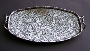 Antique Weidlich Bros Handled Silverplate Horse Dog Hunting Scene Design Tray