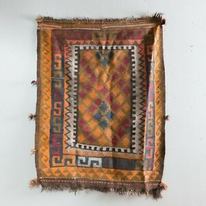Small 2 5x3 5 Vintage Orange Turkish Kilim Rug Carpet