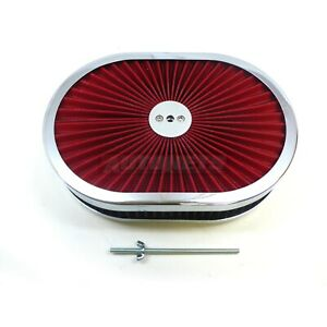 12 Oval Chrome Red Air Cleaner Super Flow Thru Washable Lid Street Hotrod Sbc