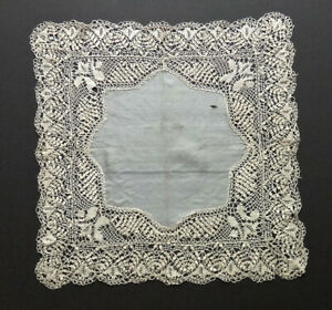 Antique Maltese Bobbin Lace Silk Hanky 14x14 Heirloom Intricate Hand Made Fine