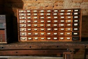 72 Drawer Vintage Wood Cabinet Nut Bolt Bin Library Index File Jewelry Watches