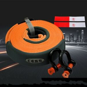6m Heavy Duty Tow Strap Recovery Rescue 5 Ton 20 Towing Pull Rope U Hooks 1247
