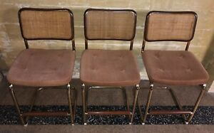 Set Of 3 Vintage Chromcraft Bar Stools Chairs Mid Century Modern