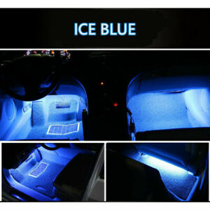 4x Ice Blue Car Charger Led Light Accessories Lamp Floor Decoration Interior Kit