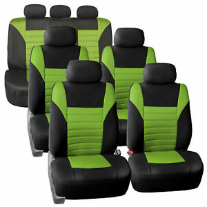 3 Row 7 Seaters Seat Covers For Suv Van 3d Mesh Green Black Full Set