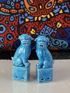 Vintage Chinese Turquoise Blue Porcelain Foo Dogs Figurines 4 5 Inches Tall