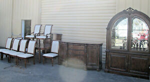 55382 T3 Rivers Edge 11 Pc Dining Set China Buffet Table 8 Chairs 124 X 51 T