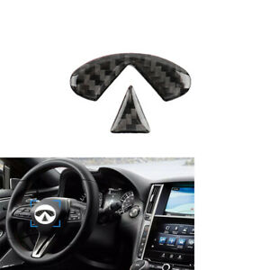 Carbon Fiber Interior Steering Wheel Sticker Cover For Infiniti Q50 Q60 2014 19