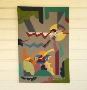 Vintage Mid Century Abstract Needlepoint In A Southwest Style Signed Circa 1979
