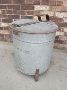 Antique H Channon Chicago Vtg Industrial Oily Waste Trash Can Machinery Tools