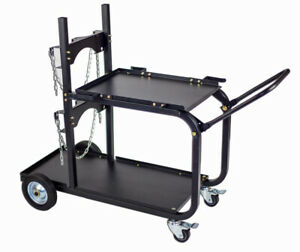 Steel Rolling Universal Welding Cart Cylinder Rack Storage Fold Down Handle