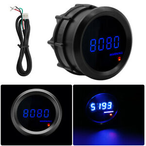 Car Digital Tachometer 2 52mm Blue Digital Led Elec 0 9999 Rpm Tacho Gauge Fast