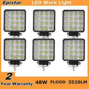 6x 48w Led Square Work Light Flood Fog Headlight Offroad Atv Suv Boat Pickup Ute