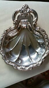 Countess International Silver Co Vintage Shell Candy Bonbon Dish 8 X 6 25