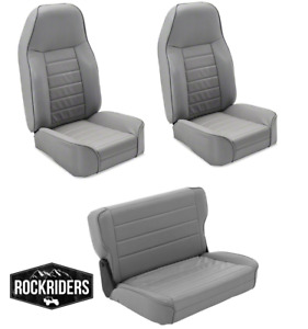 1976 1995 Jeep Wrangler Cj7 Front And Rear Complete Seat Combo Set Of Three Gray