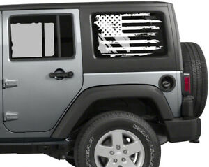 2 Distressed American Flag Vinyl Decal For Jeep Or Others Rear Window Tattered