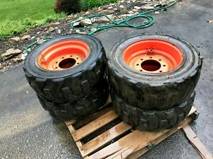 4 Used Foam Filled 10x16 5 Tires Rims For Bobcat No Flat 10 16 5