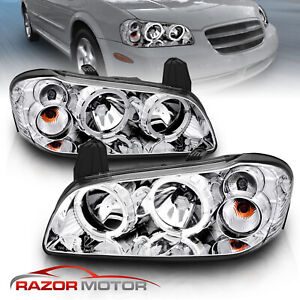 Dual Led Halo For 2002 2003 Nissan Maxima Dual Led Halo Chrome Headlights Pair