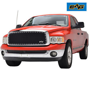 Eag Rivet Steel Wire Mesh Grill W chrome Shell Fit 02 05 Dodge Ram 1500 2500