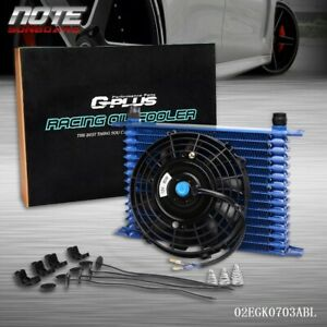 15 Row 10an Universal Engine Transmission Blue Oil Cooler 7 Electric Fan Kit