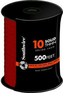 10 Gauge Red Solid Copper Thhn Wire 500 Ft Southwire Cu Electrical Cable Wiring