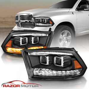 For 09 18 Dodge Ram 1500 2500 3500 Black Led Drl Dual Halo Projector Headlight
