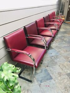 Vintage Mid Century 6 Knoll Brno Brushed Steel Flat Bar Red Leather Chairs