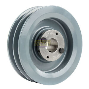 Cast Iron 6 25 2 Groove Dual Belt B Section 5l Pulley And 1 1 8 Sheave Bushing