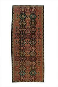 Distressed Hand Knotted Vintage Antique Oriental Wool Geometric Large Runner Rug