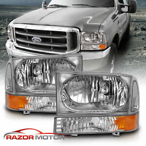 99 04 Ford Superduty F250 F350 F450 F550 00 04 Excursion Chrome Corner Headlight