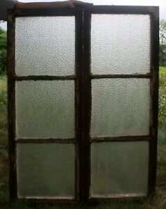 Pair 29 X39 Antique Vintage Casement Window Wood Wooden Sash Textured Glass Lite
